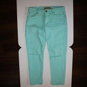 Joe's Teal BILLIE BOYFRIEND SLIM CROP Blue Jeans